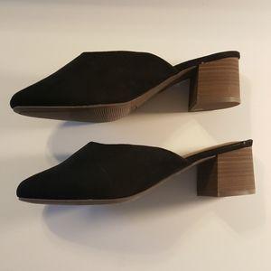 🆕️Black Vegan Suede Block Heel Slides